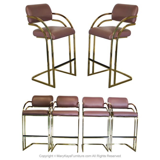 Mid Century Milo Baughman Gold Brass Flat Bar Cantilever Stools by Marykaysfurniture