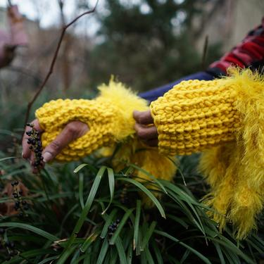 Sunshine Empress Wristlets with Faux Fur Fringe/Yellow Crochet Fingerless Gloves/Chunky Wool Faux Fur Mittens - Ready To Ship by KonjoCrochet