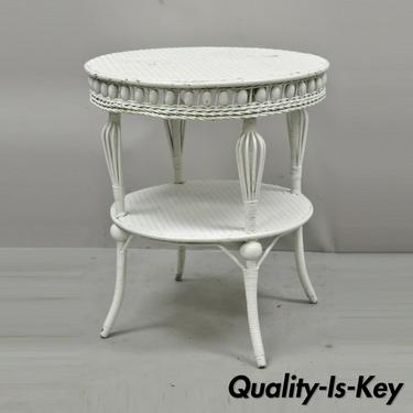 Antique Victorian White Wicker 2 Tier Round Accent Sunroom Parlor Lamp Table
