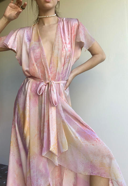Pink Printed Silk Robe Dress by VintageRosemond