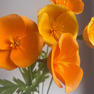 Crepe Paper California Poppy -- Paper Flowers for Weddings - Home Decor - Floral Wholesale by ReveryPaperFlora