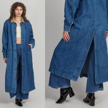 80s Levi's Western Denim Trench Coat - Men's Small, Women's Large   Vintage Oversized Grunge Long Button Up Duster Jacket by FlyingAppleVintage