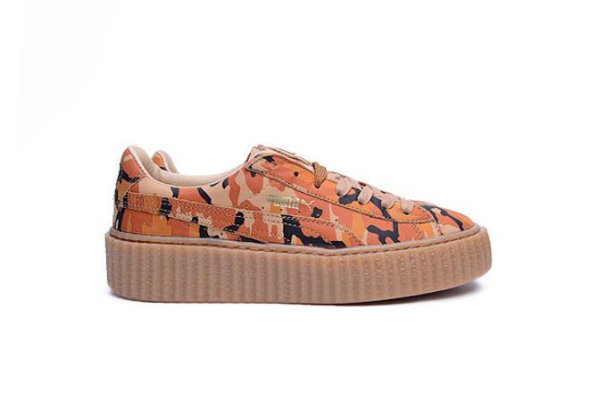 save off 46537 4f2cf Puma Fenty by Rihanna Suede Creeper Camo (Orange/Oatmeal)