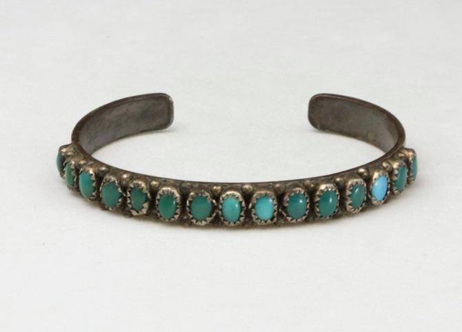 Vintage Petit Point Turquoise Cuff Bracelet Pawn Silver Zuni Signed EOZR by HouseofVintageOnline