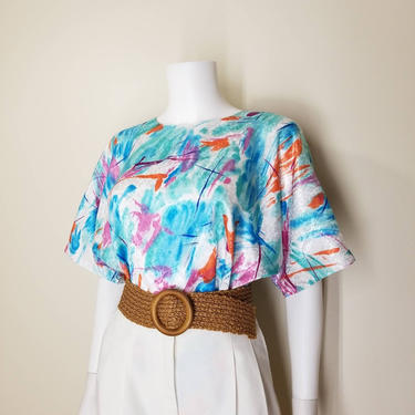 Vintage Colorful Abstract Blouse, Large / Button Back Blouse / Silky Jacquard Blouse / Painterly Print Top / 80s Free Bust Short Sleeve Top by SoughtClothier