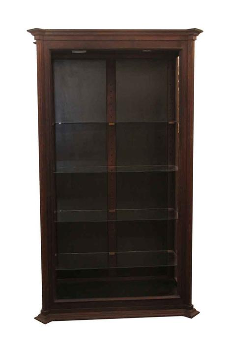 1970s Mahogany Display Case with Glass Shelves