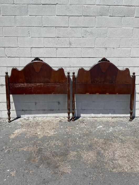 2 Twin Headboards Antique Victorian Shabby Chic French Provincial Bedroom Single Bed Cottage Coastal Neoclassical Country CUSTOM PAINT AVAIL by DejaVuDecors