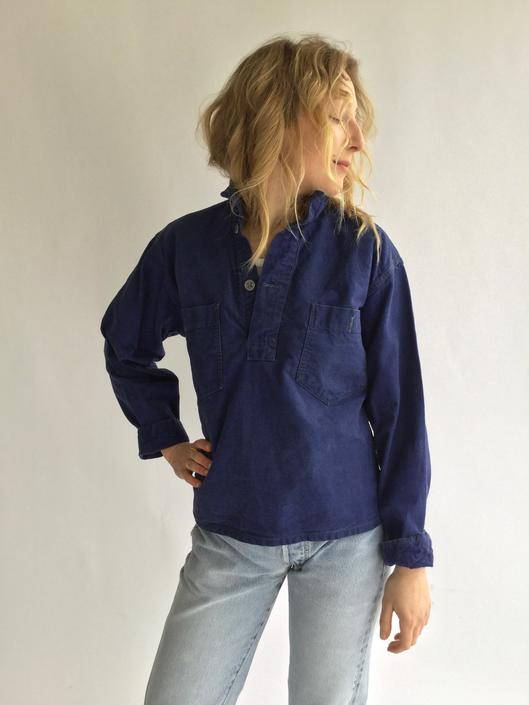 Vintage Denim Indigo Blue Popover Shirt | Pull over WW2 1940s Swedish  Military | Metal buttons | French Workwear style Pullover by RAWSONCHICAGO