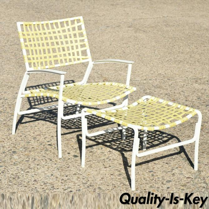 Medallion Mid Century Aluminum Yellow Vinyl Strap Patio Lounge Chair and Ottoman
