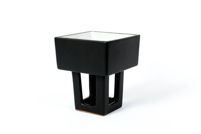 Vintage Modernist Ikebana Vase Black Ceramic - Geometric, Square - The Art of Japanese Flower Arrangement by ThePapers