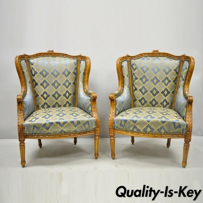 Pair Louis XVI French Upholstered Wingback Bergere Lounge Arm Chairs Blue Gold