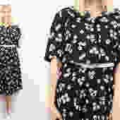 Vintage 90's Fruit Block Print Midi Dress / 1990's Novelty Print Fruit Patterned Dress / Semi-Sheer Summer / Women's Plus Size by RubyThreadsVintage