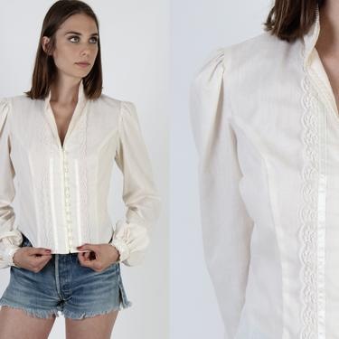 70s Womens Gunne Sax Blouse / Scallop Lace Button Up Top / 1970s Bohemian Wedding Tunic / Ivory Floral Sheer Lace Renaissance Farm Top by americanarchive