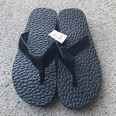 1980s Flip Flops Vintage Sandals Black Deadstock Stripe Foam 80s Eighties Thick Men's size 8 by purevintageclothing