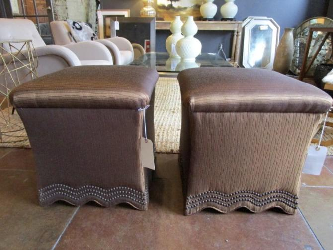 PAIR PRICED SEPARATELY  DREXEL HERITAGE OTTOMANS WITH  NAILHEAD TRIM