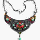 Antique Nepalese Silver Turquoise Coral Bib Face Necklace by LegendaryBeast