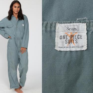 Distressed Boiler Suit Sears 80s Coveralls Pants Jumpsuit Workwear Boilersuit Blue Work Wear Vintage Pantsuit Mechanic Men's 42 R Large by ShopExile