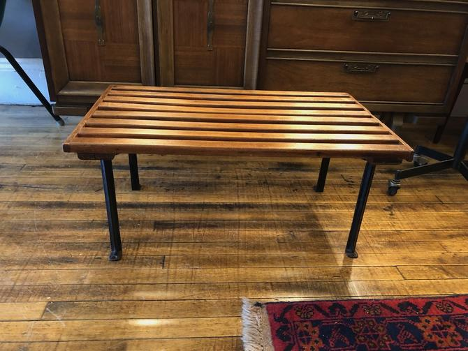 Vintage Wooden Slat Bench\/Table w\/ iron legs