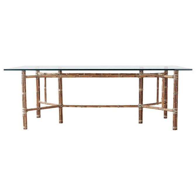McGuire Organic Modern Bamboo Rattan Glass Dining Table by ErinLaneEstate