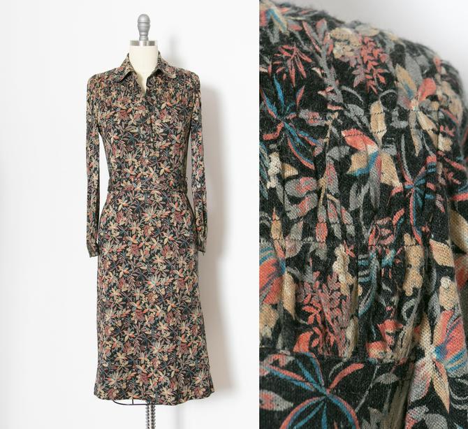 1970s Knit Dress Botanical Print Small by dejavintageboutique
