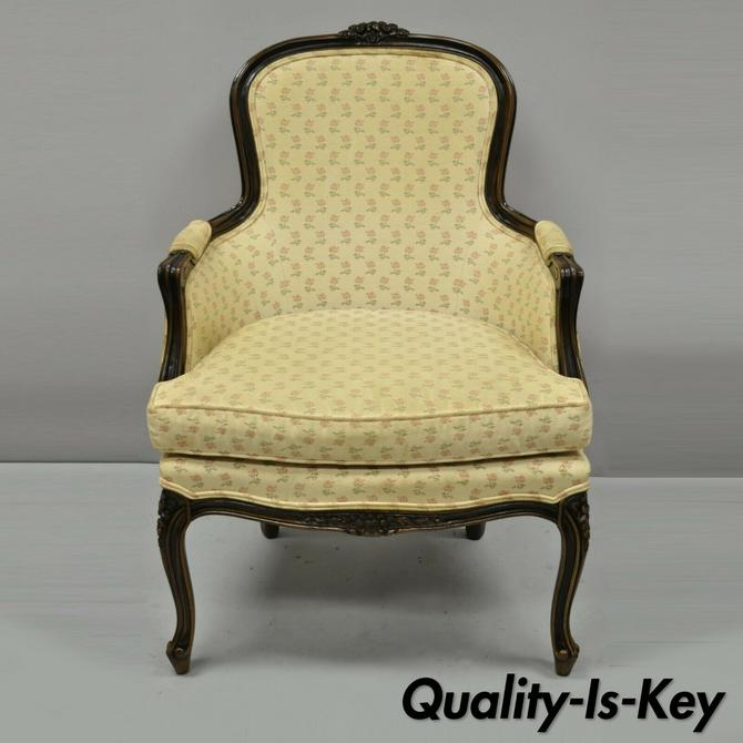 Ethan Allen Vintage French Provincial Louis XV Style Bergere Lounge Arm Chair