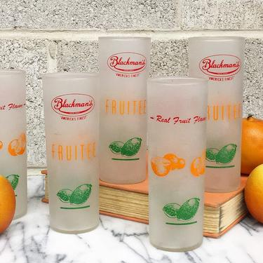 Vintage Highballs Retro 1960s Mid Century Modern + Blackmans Fruitee  + Frosted Drinking Glasses + Set of 5 Matching + Kitchen and Bar Decor by RetrospectVintage215