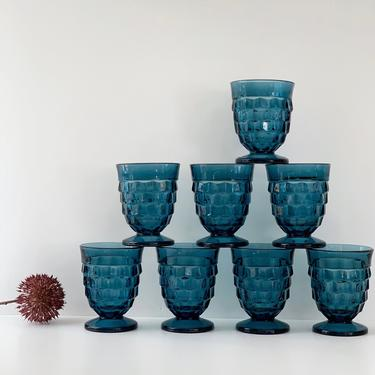Pair of Whitehall Riviera Blue Footed Tumblers, 8 Ounce, Sets of 2, Vintage Colored Glasses, Indiana Colony Pressed Glassware Cubist Pattern by PebbleCreekGoods