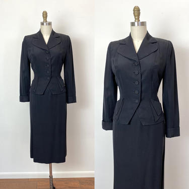 Vintage 1940s Suit 40s Black Faille Skirt and Jacket Hourglass Nipped Waist by littlestarsvintage