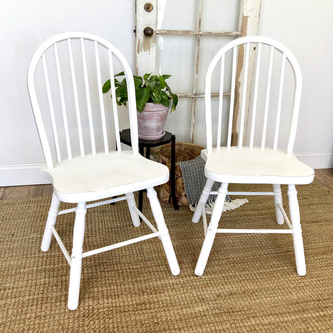 White Dining Chairs - Shabby Chic Furniture by VintageHipDecor