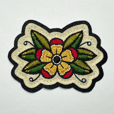 Handmade / hand embroidered off-white & black felt patch - small yellow and red flower with leaves - traditional tattoo flash by FastDoll