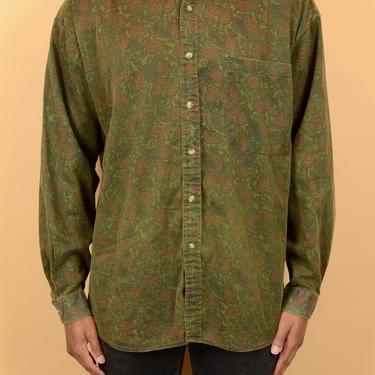 Vintage Green Leaf Floral Button Down Shirt XL Oversize by MAWSUPPLY