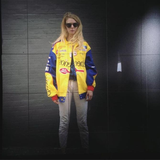 New in store  Betsy in a #Cheerios racing jacket  Photo through the viewfinder of @furcafe 's camera!#tlr #nascar #Betsy #vintage #fall #meepsdc