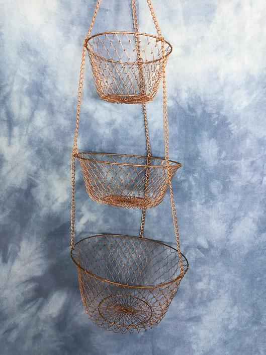 Vintage Metal Hanging Three Tier Kitchen Baskets, Chain Wire Mesh ...