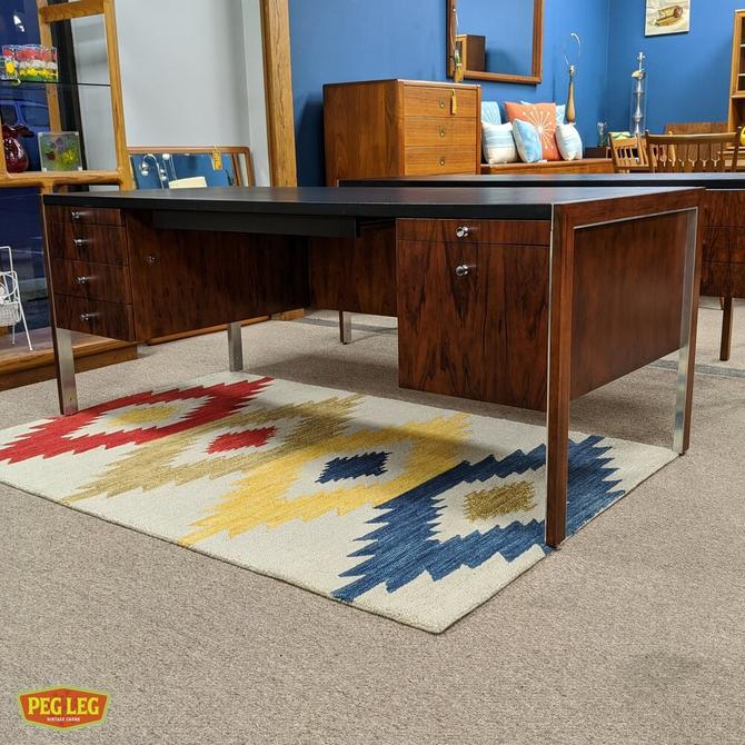 Rosewood executive desk with leather top by Herman Miller for Biltrite