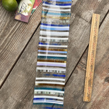 Multi Striped Glass Catchall Display Serving Platter One of a Kind by MadeByRheal