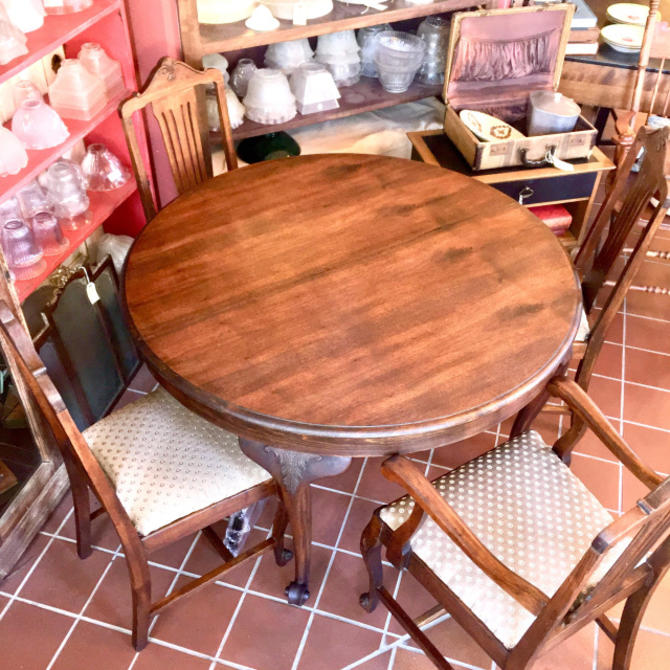 Vintage Walnut Dining Table & Chair set