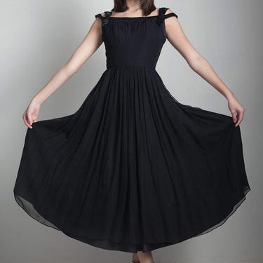 50s black party dress flowy vintage tea length pleated full skirt off the shoulder SMALL S by shoprabbithole
