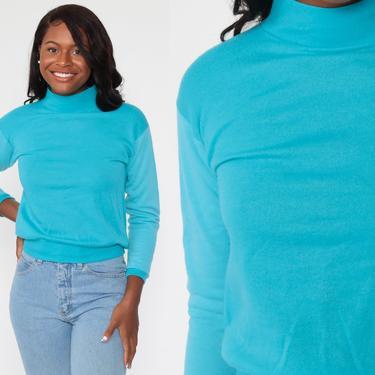 Turquoise Sweatshirt 80s Blue Sweatshirt Mock Neck Shirt Acrylic Plain Long Sleeve Shirt Slouchy 1980s Vintage Sweat Shirt Extra Small xs by ShopExile