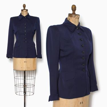 Vintage 40s Navy Blue Gab Blazer / 1940s Dark Blue Gabardine Wool Tailored Suit Jacket by LuckyDryGoods