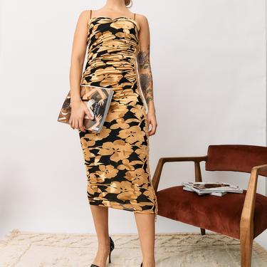b.Fleurs Ruched Velvet Maxi Dress