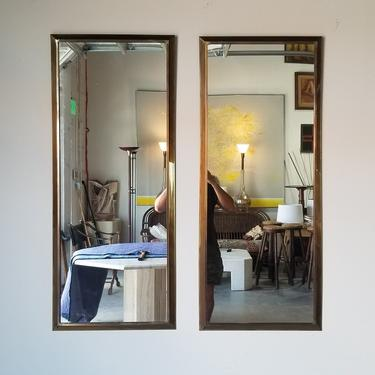 Vintage Hollywood Regency Solid Brass Frame Wall Mirrors - a Pair by MIAMIVINTAGEDECOR