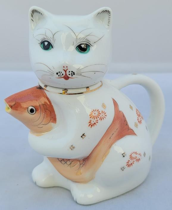 Vintage Chinese Porcelain Cat With a Fish Creamer Pitcher