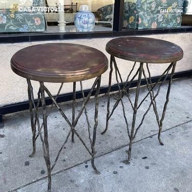 Rustic Eye | Pair of Custom Tables With Iron Bases and Copper Wrapped Tops