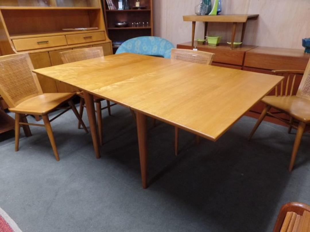 Mid Century Modern Solid Birch Drop Leaf Dining Table With Two Additional