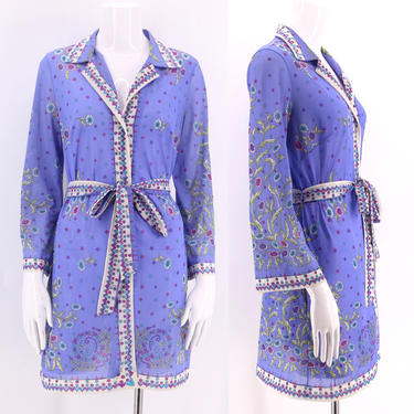 60s EMILIO PUCCI signed print Formfit Rogers mini dress / 1960s 70s vintage EPFR signed tunic top belted sz S by ritualvintage