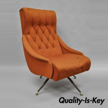 Vtg Mid Century Modern Mak Kraft Of Michigan Orange Fabric Swivel Lounge Chair
