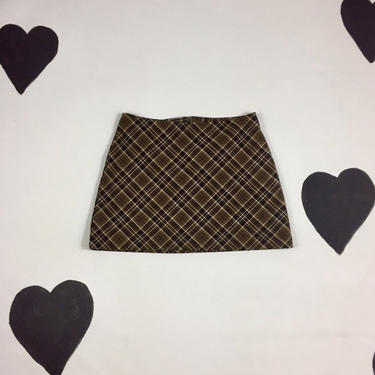 90's XOXO plaid mini skirt 1990's early XOXO In America And Abroad stretchy preppy grunge flared schoolgirl Clueless short A-line skirt S 5 by verybestvintage
