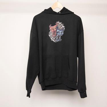 vintage 1990s y2k SHAKESPEARE club kid black faded hoodie sweatshirt -- men's size large by CairoVintage