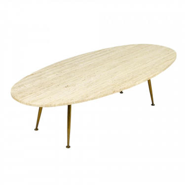 Travertine and Brass Coffee Table