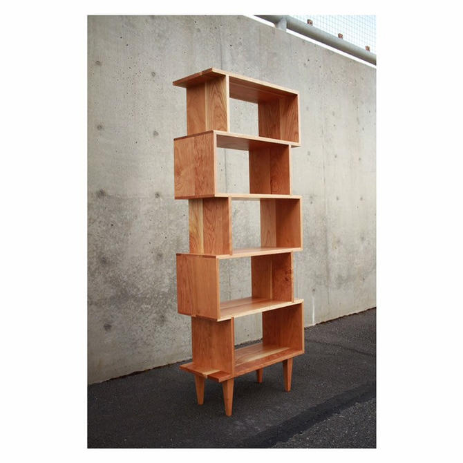 OFFSTACK Bookcase, Mid-Century Modern, Bookshelf, Solid Wood (Shown in Cherry) by TomfooleryWood